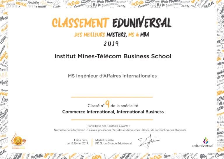classement Eduniversal IMTBS 9EME